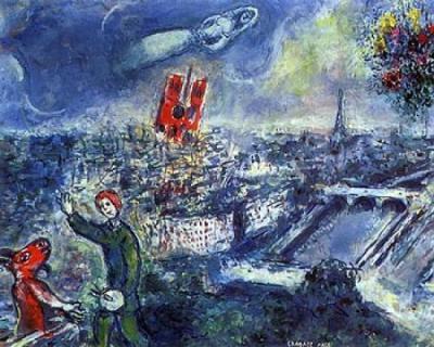 """""""Vista de Paris"""" (?) de Marc (Moïse) Chagall, cuya fecha de composición (¿1952?) y lugar de conservación (¿revue Verve, nº. 27-28?) no he conseguido precisar."""