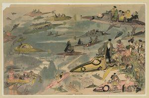 Nuestro fabuloso mundo moderno («La sortie de l'opéra en l'an 2000», Albert Robida (1848-1926).