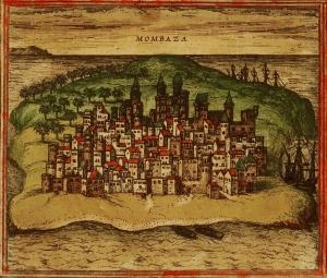 «Mombaza», modelo tomado de un manuscrito portugués sin identificar para las Civitates orbis terrarum de Georg Braun (editor) y Franz Hogenberg (grabador), vol. I (1572). Ejemplar de la Biblioteca Nacional de Israel (antigua JNUL).