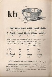 Ibrahîm Hilmi, Yeni Harflerle Resimli Türkçe Alfabe, «Alfabeto ilustrado del turco con los nuevos caracteres», Estambul, Hilmi Kitaphânesi, 1928, pág. 21